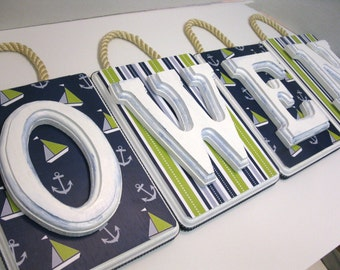 Nautical Letter Plaques-  Green Blue and Gray SOLD PER LETTER