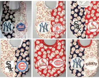 Handmade House Divided Baby Bibs - MLB Logos