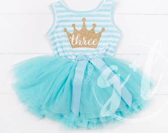 Third Birthday dress, Mint with gold crown, 3rd Birthday Outfit, tutu dress Mint and gold tutu for girls or toddlers, Princess, tutu