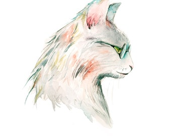 Cat wearing glasses watercolor painting PRINT
