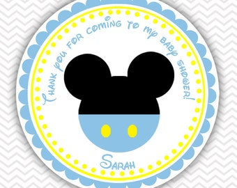 Baby Blue Mickey - Personalized Stickers Baby Shower Birthday , Party Favor Tags, Thank You Tags, Gift Tags, Address labels, Baby Shower