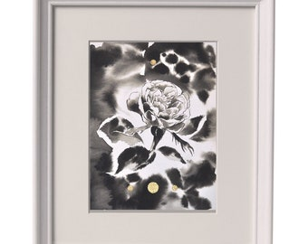 Original painting of a rose in ink with golden circles