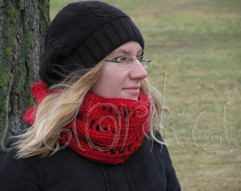 Chunky scarf fashion circle scarf woman loop scarf red scarf woman lace knitted snood red winter scarf handmade wool scarf soft loop scarf