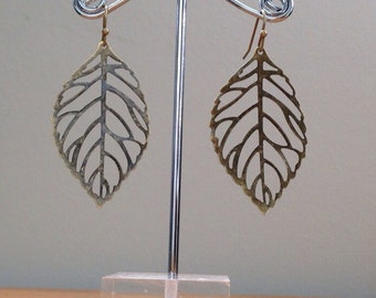 antique brass bronze leaf earrings