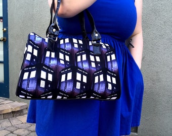 Handbag made with Tardis fabric