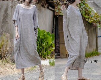 Free Style  Cotton  Long Dress /Asian Style/Cocoon Shape/Light grey/ 15 Colors/ RAMIES