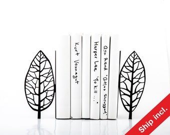 Metal bookends - Magritte trees - painter inspired bookends // modern home functional decor // housewarming gift // FREE SHIPPING //