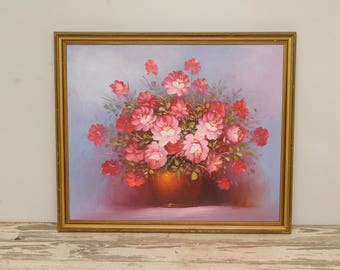 LARGE Pink Roses Oil Painting