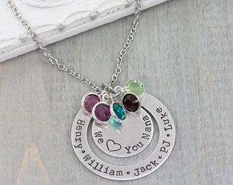 Personalized Jewelry - Hand Stamped Jewelry - Family Name Necklace - Personalized Washer Necklace - Gift for Grandmother - Mom Gift