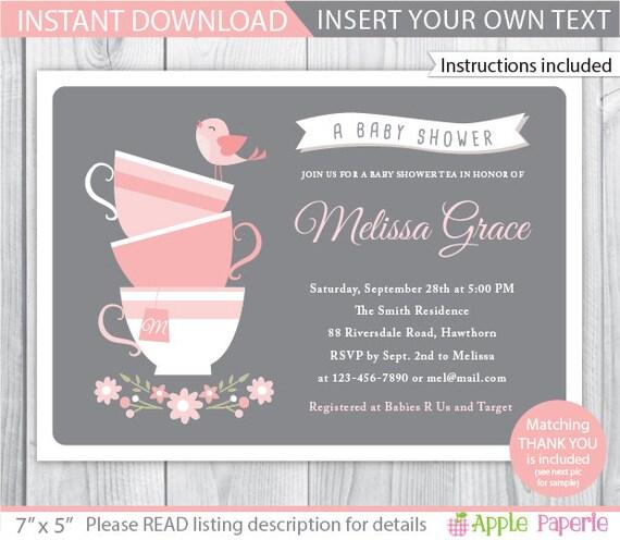 Baby shower tea party invitation tea baby shower invitation filmwisefo