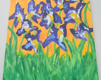 OOAK Abstract Acrylic Painting Irises 16x20 Stretch Canvas Orange Purple Green Floral Painting