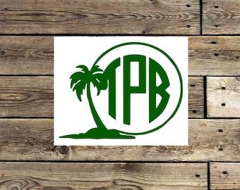 Palm Tree Decal - tropical monogram decal - Palm Tree sticker -  monogram decal  - palm tree monogram - beach monogram -
