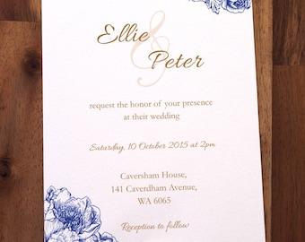 Wedding invite - Vintage floral printable Wedding Invitations