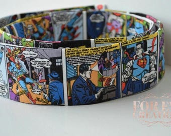 Superman Comic Strip Martingale Dog Collar