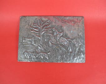 Pewter decorative plaque. Rural / hunting scene. Horse & rider with dogs.