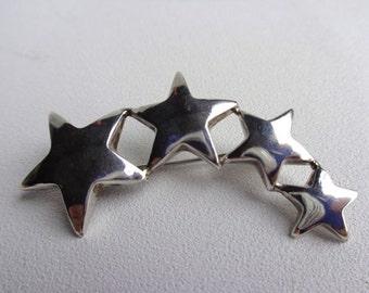 Sterling Silver Curved Star Brooch