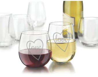 """Single Etched Red or White Stemless Wine Glass - (""""love"""" inside heart)"""