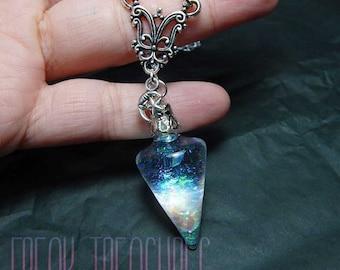 "Enchanted iridescent ""opal"" water pendulum necklace; witchy moonchild kawaii soft grunge pastel goth water globe"