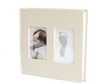 Linen Album with BABYink®  Colour Ink-less Print Kit - Non-Toxic, Baby Safe - Handprint | Footprint | Keepsake  | Baby Gift