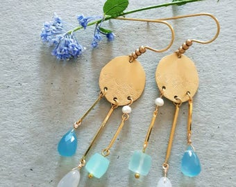 Morning Rain Earrings - Golden Brass with Three Chalcedonies and White Freshwater Pearls