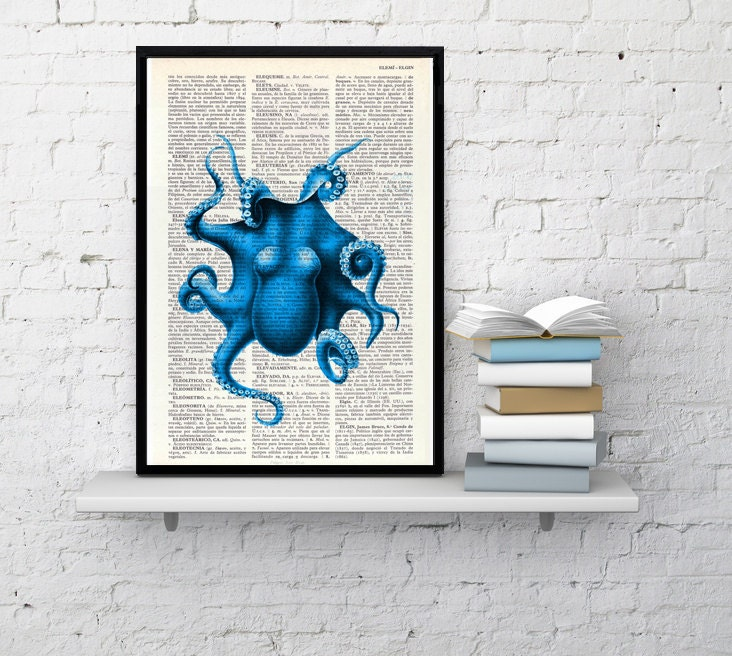 Electric blue octopus print dictionary art wall decor blue octopus electric blue octopus print dictionary art wall decor blue octopus wall decor sea life wall art octopus print art sea105 ppazfo