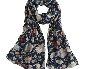 Lightweight Cotton Floral Scarf, Beaded Scarf, Embellished Scarves, Night Blue Scarf, All Season Scarf