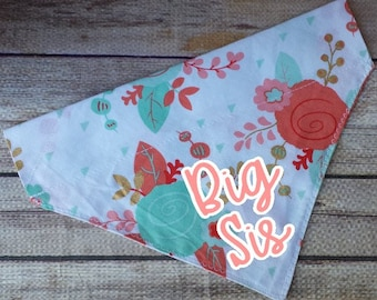 Pregnancy Announcement / Dog Bandana / Big Sister Dog Bandana / Big Sister Cat / Floral Bandana / Over the Collar / Pet Bandana