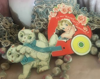 Antique Vintage Valentine's Day Valentine Card - 1940s Mechanical Kitty Cat Pulling Girl In Heart Carriage Cart