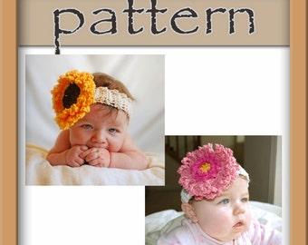 PATTERN PACK - Crochet Sunflower and Gerbera Daisy Flower Headband - Instant Download