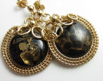 Flecks of Gold Earrings - Black and Gold Stone in 14k Gold Fill Wrapped Hoops