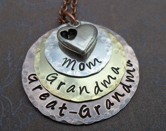 Mom Grandma Great-Grandma Necklace with Heart - Mothers Day Gift - Hand Stamped Necklace - Gift for Great Grandma - For Grammy Nonna - S205