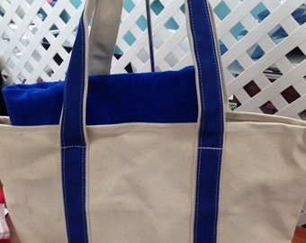 Personalized beach bag royal blue canvas boat bag tote royal blue beach towel