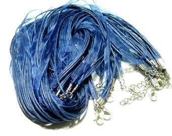 PAX 10 Organza and cord 4 rows blue PS1110489 necklaces