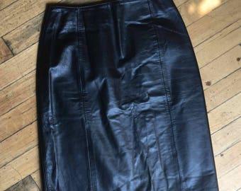 Vintage 80's Black Leather Women's Skirt, Fully Lined, Wilsons, Women's Size S