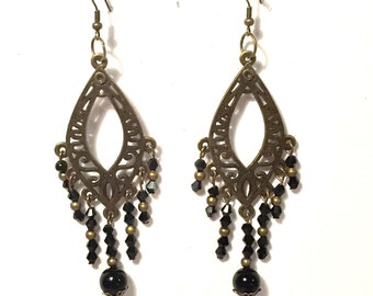 Victorian Steampunk Chandelier Earrings, Steampunk Jewelry, Bronze and Black Crystal Beads, Steam punk Earrings