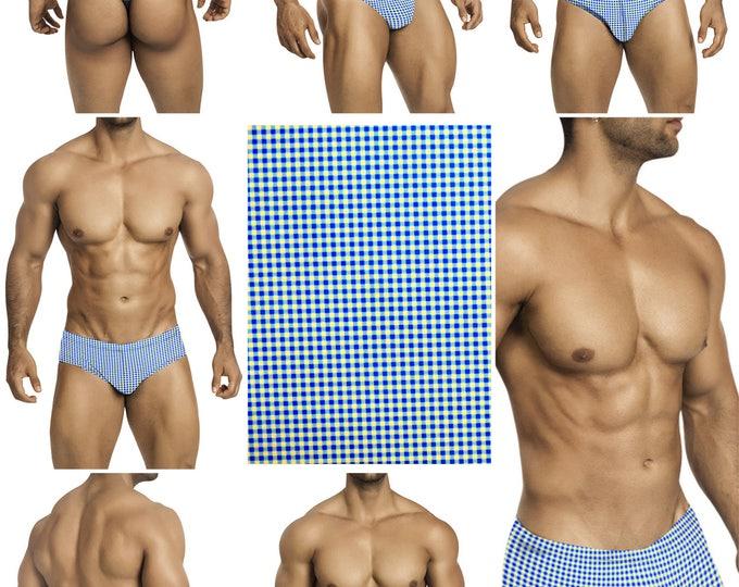 Blue and White Check Swimsuits for Men by Vuthy Sim.  Choose Thong, Bikini, Brief, Squarecut - 199