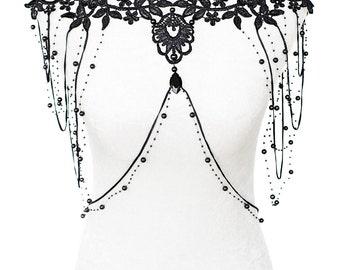 Huge hand-made Floral black lace beaded shoulder jewelry by Selene de Viollet