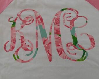 Printed Vinyl Monogram on Baseball Jersey T Shirt