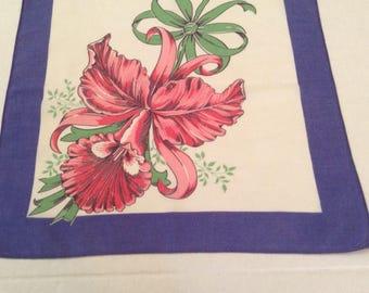 Vintage Handkerchief / Red Orchid