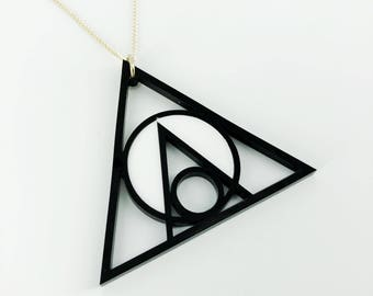 Geometric Acrylic Necklace, black perspex, Triangle necklace, triangle jewellery, chain necklace, Geo Necklace, handmade necklace
