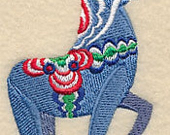 Dancing Dala Horse Embroidered Kitchen Towel