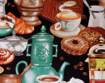 """One Half Yard Cut Quilt Fabric, """"I LOVE COFFEE"""", Elizabeth's Studio, Coffee Cups, Grinders, Sweets on Black, Sewing-Quilting-Craft Supplies"""