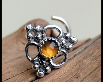 Silver Nose Stud / Bold Nose Jewerly / Large Nose Ring / Unique Nose Stud / Citrine Nose Pin / Silver Nose Bone - CUSTOMIZE
