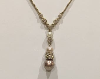 Givenchy Satin Gold Pendant Necklace with Pearls & Rhinestones