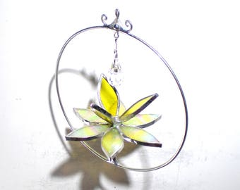 Beaming - Stained Glass Lotus Spinner - Mini Yellow Flower Home Garden Decor Nature Yard Art Suncatcher Ornament Crystal (READY TO SHIP)