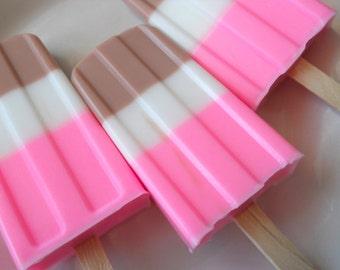 Neopolitan Glycerin Soap Popsicle, Childrens Stocking Stuffer, party favors, kids soap, teen soap