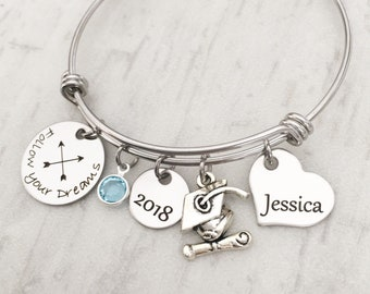 Inspirational Bracelet - Silver Charm Bracelet - 2018 Graduation Gift for College Grad - Personalized Gift for Her - Follow your  Dreams