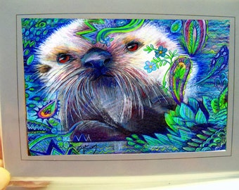 greeting card print of originlal drawing otter pup colorful zentangle