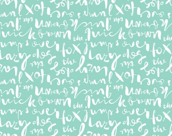 Cloud9 - Typography Script Turquoise - quilting cotton fabric