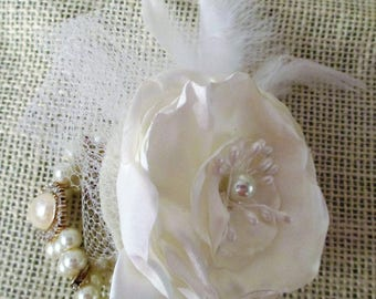 Wrist Corsage, Fabric Flower Bracelet, Wedding Flower, Ivory Bridal Corsage, Mother of the Bride, Prom